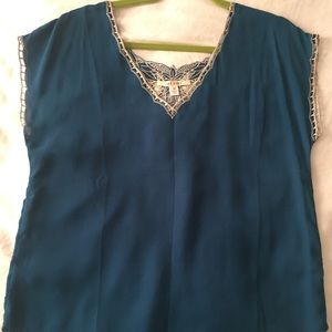 Deep Teal Silky Embroidered Blouse